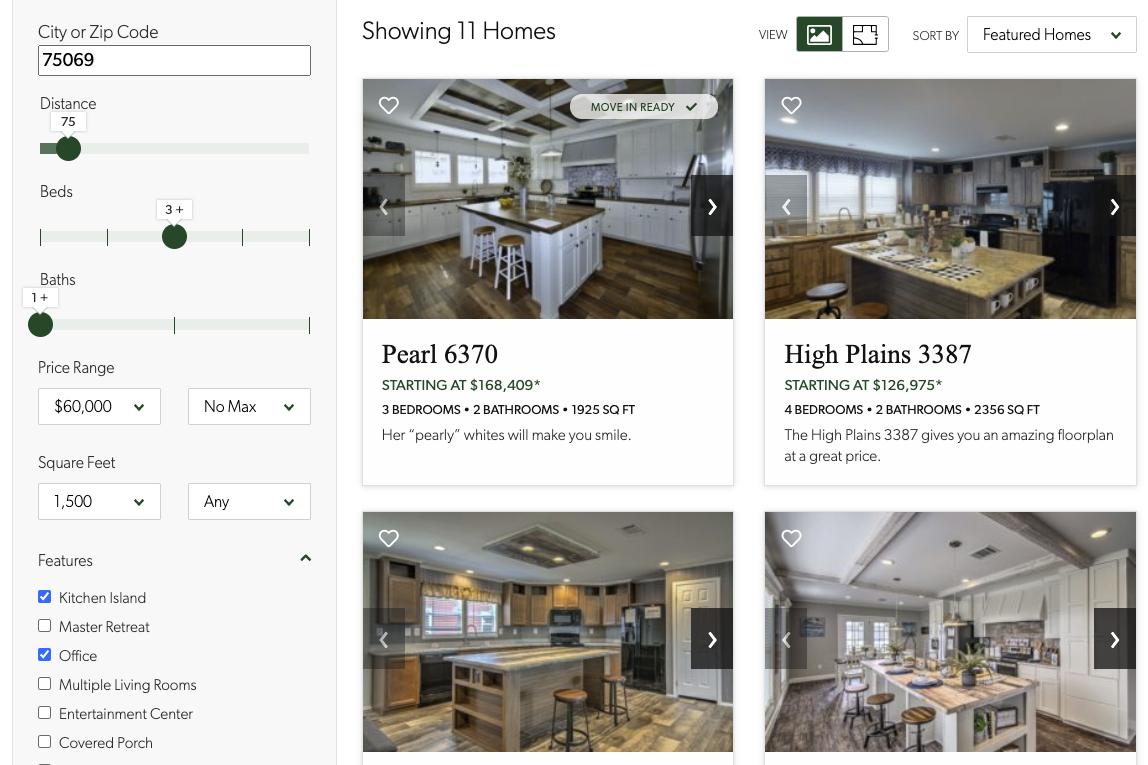 Visit oakcreekhomes.com – Home & Dealer Filter UIs